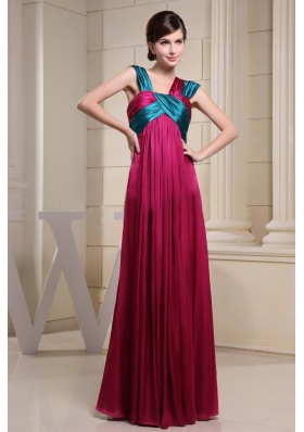 Asymmetrical Neckline For Prom Dress With Ruch and Hot Pink