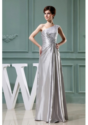 Beading One Shoulder Grey Floor-length Taffeta Column Prom Dress