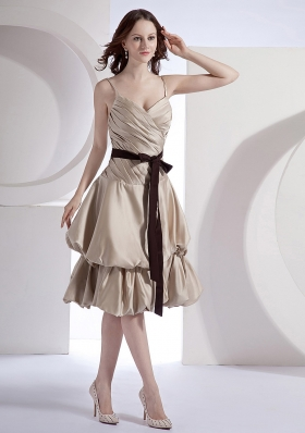 Champagne Taffeta Black Sash Decorate Bodice Spaghetti Straps Knee-length 2013 Bridesmaid Dresses