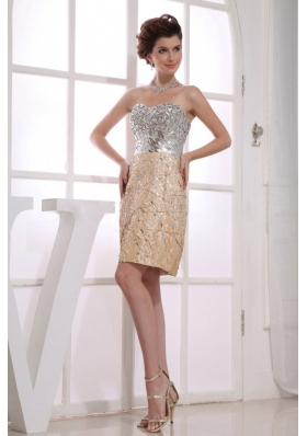 Paillette Column Sweetheart Knee-length Taffeta Prom Dress Gold