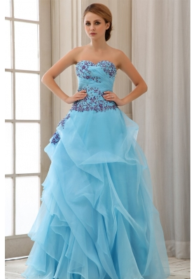Sweetheart Appliques For Aqua Blue Prom Dress With Custom Made