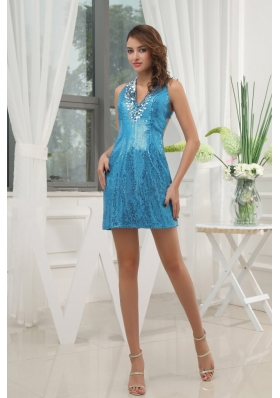 Blue Cocktail Dress With V-neck Sequin Mini-length  For Club