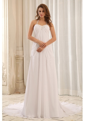 Luxurious Empire Halter Appliques and Ruch Wedding Dress For Outdoor
