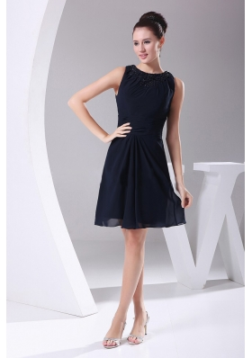 Simple Navy Blue Chiffon Knee-length Beading Decorate Scoop 2013 Prom Dress