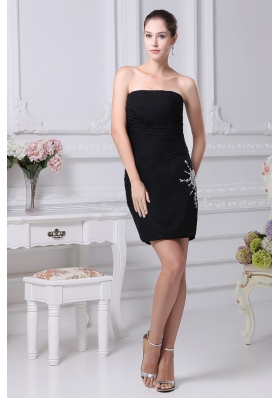 Beading and Ruching Decorate Bodice Black Chiffon Strapless Mini-length 2013 Prom Dress