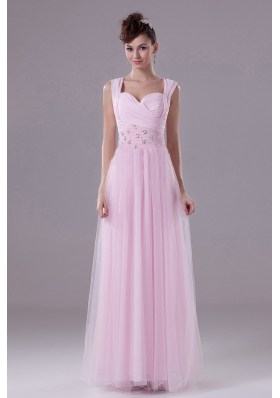 Pink Custom Made Prom Dress With Square Beading Tulle and Floor-length