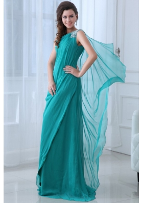 Column Turquoise One Shoulder Beading and Ruching Prom Dress