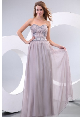 Empire Strapless Beading and Ruching Chiffon Floor-length Prom Dress