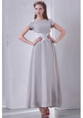 Ankle-length Grey Empire Scoop Prom Dress with Short Sleeves