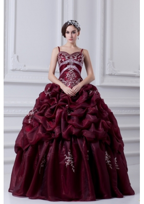 2014 Spaghetti Straps Organza Beading and Appliques Burgundy Quinceanera Dress