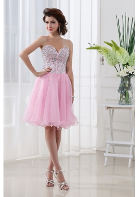 Baby Pink A-line Beautiful Sweetheart Organza Prom Dress