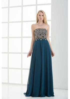 Empire Floor-length Beading Navy Blue Dress for Prom