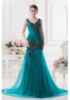 Turquoise Column Court Train Tulle Prom Dress with Ruching and Appliques