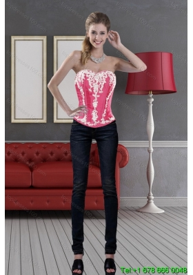 Hot Pink Sweetheart 2015 Pretty  Corset with Pick Ups and Embroidery