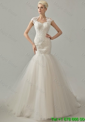 Remarkable 2016 Mermaid White Long Wedding Dresses with Lace