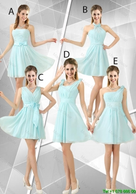 Beautiful A Line Ruched Dama Dresses in Light Blue