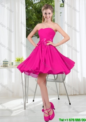 Custom Made Sweetheart Short Dama Dress with Bowknot
