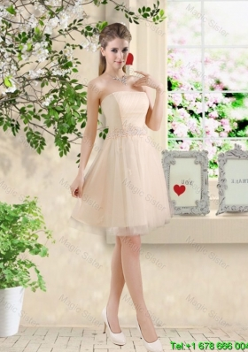 Perfect Short Strapless Champagne Dama Dresses with Belt