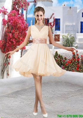 Affordable Champagne V Neck Dama Dresses with Belt and Ruching