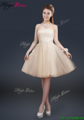 2016 Fashionable Strapless Lace Champagne Prom Dresses