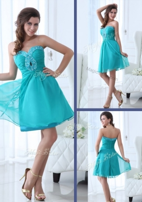 2016 Pretty Short Sweetheart Beading Prom Dress in Turquoise