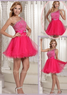 Gorgeous One Shoulder Beading Short Prom Dresses for 2016