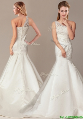 Beaded Decorate Shoulder Mermaid Wedding Dresses with Court Train