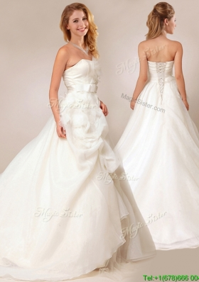 Lovely Princess Bowknot and Ruffled Wedding Dresses with Court Train