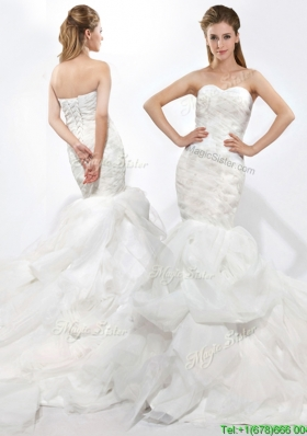 Modest Mermaid Sweetheart Ruffles Wedding Dresses with Court Train