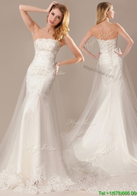 Sexy Mermaid Strapless Wedding Dresses with Beading and Appliques