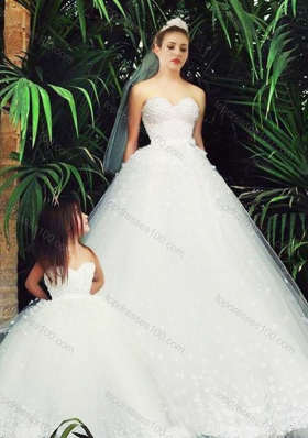 Delicate A Line Sweetheart Luxurious Wedding Dresses with Appliques and New Style Applique Flower Girl Dress in White