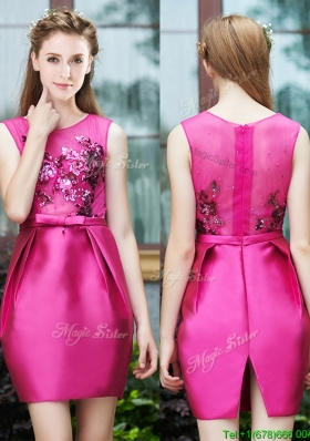 2016 Luxurious Column Scoop Applique Hot Pink Prom Dresses  in Satin