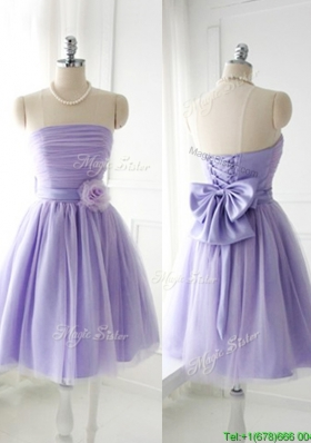2016 Simple Handcrafted Flower Tulle Lavender  Prom Dresses  with Strapless