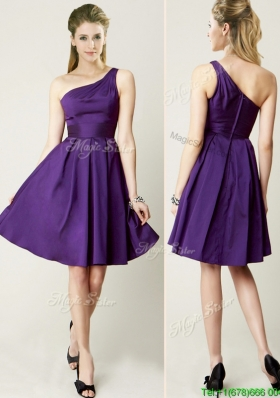 Beautiful One Shoulder Purple Short Prom Dresses for Summer