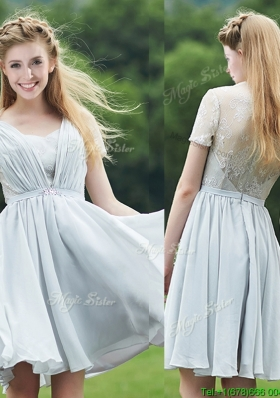 Elegant Sweetheart Short Sleeves Prom Dresses  with Belt and Lace
