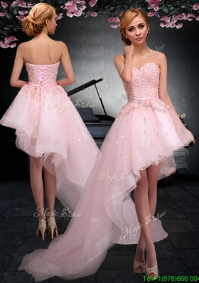 2017 Latest Lace Up Applique Baby Pink Prom Dress in Asymmetrical