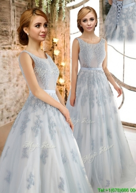 2017 Luxurious See Through Scoop Applique Prom Dress in Grey