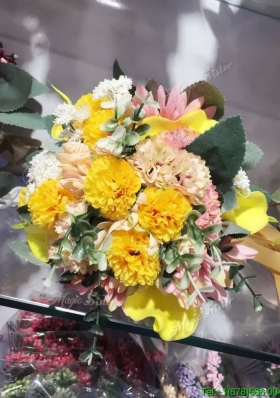Beautiful Round Wedding Bouquet in Multi Color