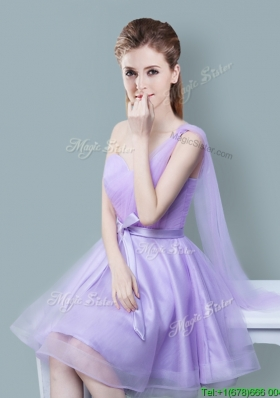 Cheap One Shoulder Bowknot Lavender Dama Dress in Tulle