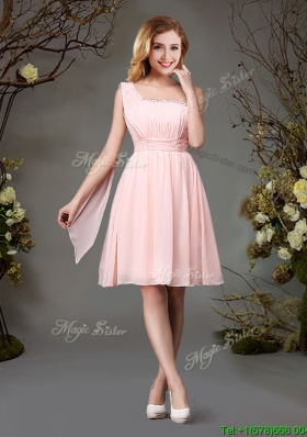 Best Selling Empire Chiffon Beaded Top and Ruched Prom Dress in Pink