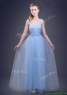 2017 Affordable Straps Empire Light Blue Prom Dress with Bowknot and Ruching