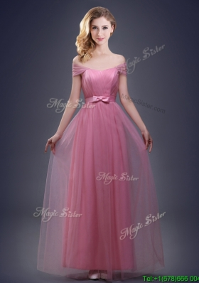 2017 Fashionable Off the Shoulder Tulle Prom Dress with Bowknot