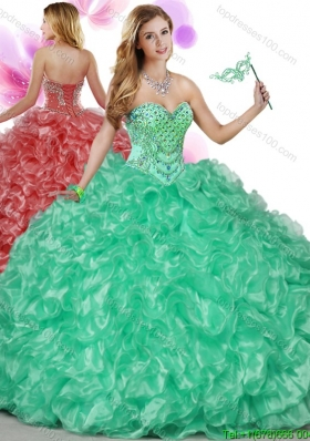 Cheap Beaded Bodice and Ruffled Big Puffy Quinceanera Gown in Turquoise