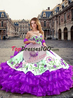 Sweetheart Sleeveless Organza Sweet 16 Dresses Embroidery and Ruffled Layers Lace Up