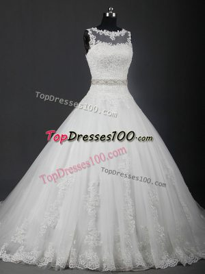 Adorable Sleeveless Lace and Belt Lace Up Wedding Dress with White Brush Train