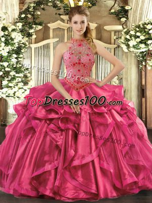 Hot Pink Organza Lace Up Ball Gown Prom Dress Sleeveless Floor Length Beading and Embroidery and Ruffles