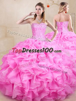 Floor Length Rose Pink Quinceanera Gowns Organza Sleeveless Beading and Ruffles