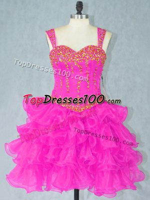 Mini Length Lace Up Dress for Prom Fuchsia for Prom and Party with Beading and Ruffled Layers