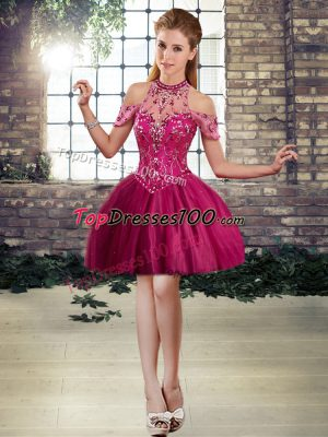 Low Price Fuchsia Sleeveless Beading Mini Length Prom Evening Gown