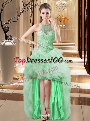 Stylish Apple Green Sleeveless Tulle Lace Up Evening Dress for Prom and Party